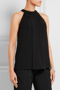 Black stretch-crepe Button-fastening keyhole at back 94% polyester, 6% elastane Dry clean Imported