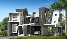Home Design, Unique Shape Of Two Story Modern Minimalist House Design Ideas Taupe Grey White Home Living Architecture Design Ideas Facade ~ Creating Unique Home Ideas in the Living Room and Kitchen Big Modern Houses, Best Modern House Design, Small House Design, Modern House Plans, Modern Design, Plans Architecture, Architecture Design, Creative Architecture, Futuristic Architecture