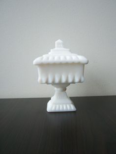 Vintage milk glass container with lid