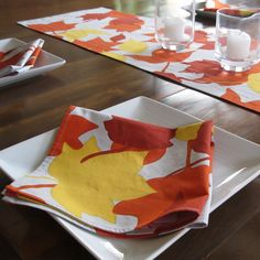 Quilted table runner • Marimekko table runner • autumn table runner • fall table runner • Syksyn Lehdet • autumn leaves • Plumdacity by Plumdacity on Etsy