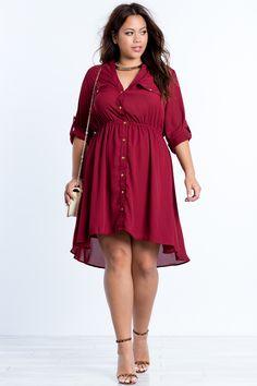 Plus Size Button Front Shirt Dress