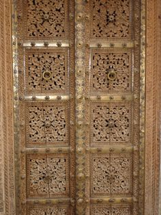 Hand-crafted Doors in Wood and Brass, Rajasthan, India