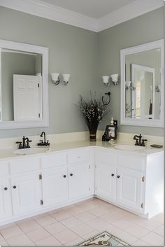 Master Bathroom Makeover So Walls Got A Fresh Coat Of Restoration Hardware Silver Sage Paint I Know Ve Used This Color In Like Percent My Home