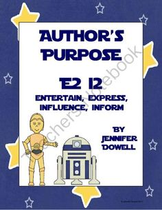 Authors Purpose Activity from LoveTeachingKids on TeachersNotebook.com (11 pages)  - This author's purpose activity teaches entertain, express, influence, and inform (E2 I2). There is an example attached for you to use as an anchor chart, mini lesson, small group lesson, and an independent practice worksheet.