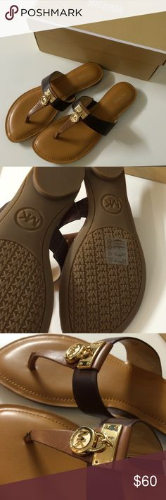 Final price! Michael Kors Hamilton Leather Sandals ✨Final Price! I'm downsizing my closet✨Brand new 100% Authentic Michael Kors Hamilton Flat Leather Sandals. Size 7.5 in the color Walnut/Java MSRP $99+tax MICHAEL Michael Kors Shoes