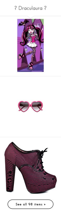 """♡ Draculaura ♡"" by lululilacdoll ❤ liked on Polyvore featuring yellow, black, hotpink, MonsterHigh, draculaura, accessories, eyewear, sunglasses, pink heart glasses and heart glasses"