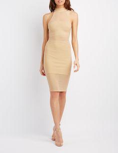 Mesh Overlay Bodycon Dress | Charlotte Russe