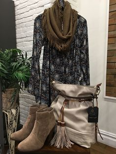 One more great boho Fall look! $40 booties. $85 boho bag $28 scarf and $54 floral dress!