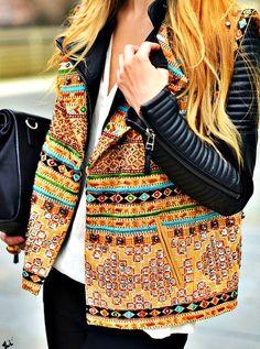 I LOVE this jacket leather + tribal vest :o how AMAZING :DDDDDD