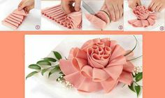 Make a rose with lunch meat -- great idea for serving a meat and cheese tray at a baby or bridal shower or a ladies meeting. Also would be good for weddings.