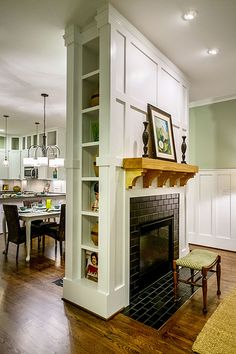 Built-Ins Between Two-Sided Fireplace