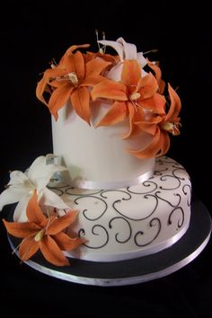 wedding cake with tiger lilies 1000 images about 60th birthday cakes on 26974