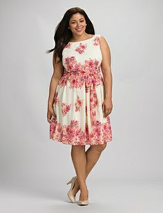 Pink and girly, but for once I kinda like it  //  Plus Size Belted Floral Dress | Dressbarn