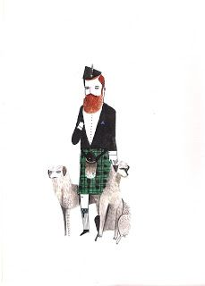 """""""Scottish Gent with Scottish Deerhounds"""" by Dick Vincent"""
