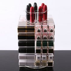 New Clear 360 Degree Rotating Transparent Acrylic Lipstick Makeup Box Desktop Storage Case Holder 80 Grids Shelf-in Storage Boxes & Bins from Home & Garden on Aliexpress.com | Alibaba Group
