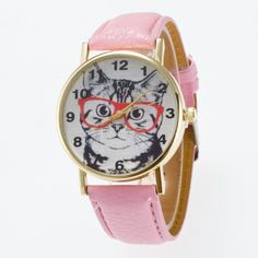 [USD4.60] [EUR4.12] [GBP3.32] 3 Pack Gold Round Case Big Cat Face Frame Pattern Leather Watch (Colour: Pink)