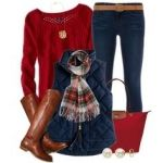 Black quilted vest, cranberry red sweater, black skinny jeans, brown riding boots & belt, red handbag, black & red plaid oblong scarf