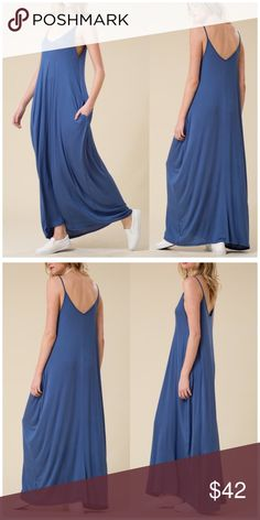 Spaghetti Strap Loose Fit Harem Maxi Dress Spaghetti Strap Low Back Loose Fit Harem Maxi Dress with pockets  95% Rayon, 5% spandex. B Chic Boutique Dresses Maxi