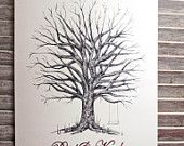 Small Fingerprint  Tree Wedding Guest book, Hand Drawn in Ink, includes 2 ink pads and pen. $80.00, via Etsy.
