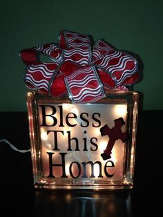 glass block Lighted BLESS this HOME  night by SteelHorseGifts, $25.00