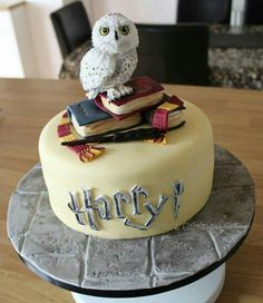 harry potter book cake with dobby and snitch Harry Potter Book Cake, Bolo Harry Potter, Gateau Harry Potter, Harry Potter Birthday Cake, Harry Potter Food, Harry Potter Cosplay, Harry Potter Cupcakes, Decoration Patisserie, Bolo Cake