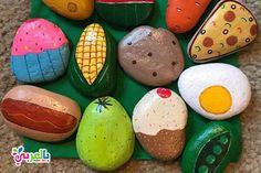 Play Food / Mud Kitchen Painted Rocks, pretend to play, play . - Play Food / Mud Kitchen Painted Rocks, pretend to play, play kitchen … Play Food / - Play Kitchens, Play Kitchen Sets, Mud Kitchen For Kids, Diy Mud Kitchen, Play Kitchen Food, Pretend Play Kitchen, Kitchen Size, Stone Crafts, Rock Crafts