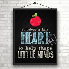 Big heart | #Teacher #male | #School | #Chalkboard | Quote | Art Print | #Typography | #Classroom | #Printable by InspirationWallDecor on Etsy. Check more #digitalprint #walldecor #artprint themed at my #etsy store:  www.etsy.com/shop/InspirationWallDecor