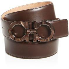 Salvatore Ferragamo Tonal Buckle Leather Belt ($395) ❤ liked on Polyvore featuring men's fashion, men's accessories, men's belts and salvatore ferragamo mens belt
