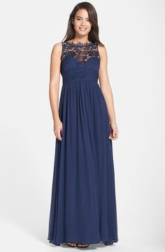 Women's Aidan Mattox Embellished Lace & Silk Chiffon Gown from Nordstrom. Saved to Prom Dresses. Lace Silk, Silk Gown, Chiffon Gown, Mob Dresses, Event Dresses, Bridesmaid Dresses, Sequin Bridesmaid, Bridesmaids, Pretty Dresses
