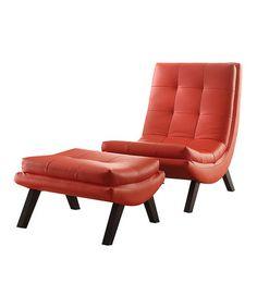 Look at this #zulilyfind! Red Tustin Lounge Chair & Ottoman Set #zulilyfinds www.zulily.com