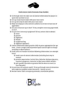 Youth Soccer Preseason Prep Checklist