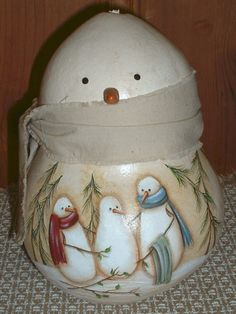 Hand Painted Snowman Gourd
