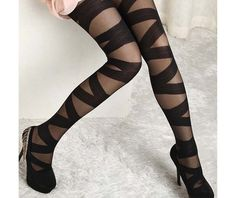 Buy Sexy Women Goth Rocker Mesh Black Cross Band Vintage Stretch Stockings Tights Leggings (Color: Black) at Wish - Shopping Made Fun Ripped Tights, Black Tights, Black Leggings, Sheer Tights, Black Pantyhose, Women's Leggings, Nylons, Opaque Tights, Moda Funky
