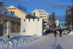 Wintery views in Kemi impressed the crew as much as the Summer ones. The snow castle has taken over the strand boulevard. Snow Castle, Finland, Seaside, Cat, Mansions, House Styles, Winter, Summer, Outdoor
