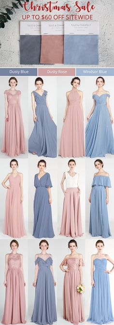 tulle and chantilly dusty blue, dusty rose and canyon rose bridesmaid dresses 2019 Dusty Rose Bridesmaid Dresses, Bridesmaid Dress Colors, Blue Bridesmaids, Wedding Bridesmaids, Bridesmaid Jewelry, Dusty Pink Weddings, Dusty Rose Wedding, Wedding Party Dresses, Bridal Dresses