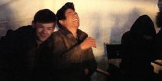 Ki Hong and Thomas laughing in TST behind the scenes   gif