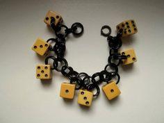 Original 1940s black & yellow DICE Bakelite charm bracelet by beanik, €100.00