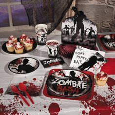 Zombie Party Supplies. The ZomBeatles -- A Hard Day's Night of the Living Dead -- or the Walking Dead Halloween Party Decorations & Ideas