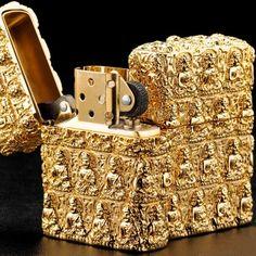Japanese Handicraft Master Plated Golden Buddha Jacket Zippo Lighter