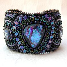 ~~Magical Mystery Cuff ~ beaded cuff with glass cabochons | BeadsForever~~