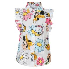 Monnalisa Girls White Shirt with Frill Sleeves and Minnie Mouse and Daisy Duck Print