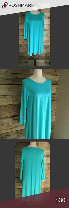 3/4 Sleeve T-shirt Dress Beautiful turquoise color. Light, stretchy, and soft material. 95% rayon, 5% spandex. Dresses
