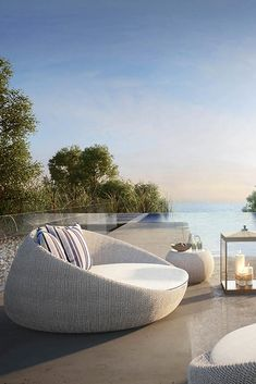 Bringing the outdoors in and creating a sense of exclusivity completely in harmony with your natural surroundings for relaxing days and cosy nights. Contemporary Outdoor Furniture, Outdoor Furniture Design, Pool Furniture, Luxury Furniture, Unique Furniture, Furniture Ideas, Outdoor Daybed, Outdoor Decor, Garden Day Bed