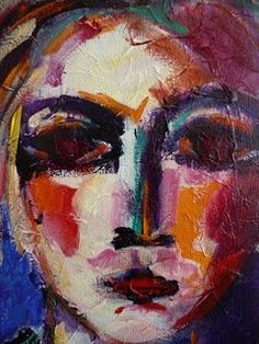 una cara, fuerza y color  Try this type of face in pastels, oil and acrylics  see which is better