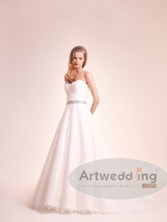 Sweetheart Allover Lace A Line Wedding Dress with Beaded Sash $185