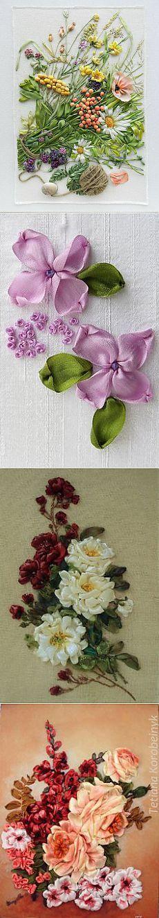 Wildflowers_1, silk ribbon embroidery