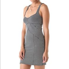 Free people microdot bodycon dress Size small. Scalloped seams meet along bodice and contour the skirt for the ultimate body-con fit. Unlined, sold out in stores! Please ask any questions prior to purchasing. No modeling no trading. Price firm Free People Dresses Mini