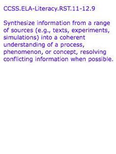 CCSS-ELA-Literacy-RST.11-12.9  Text from:  http://www.corestandards.org/ELA-Literacy/RST/11-12/