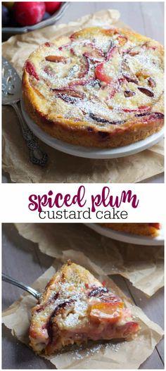 Spiced Plum Custard Cake is part of Custard cake - Gourmet Recipes, Baking Recipes, Sweet Recipes, Cake Recipes, Dessert Recipes, Plum Recipes Healthy, Plum Recipes Dinner, Custard Cake, Sweet Tarts