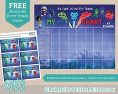 PJ Masks Inspired Potty Training Chart Set with FREE Punch Cards | Disney Junior, Catboy, Gekko, Owlette | Printable, Instant download by GraphicLoveShop on Etsy